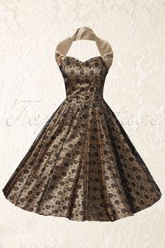 Vivien of Holloway - 1950s Retro halter luxury Champagne Satin Lace swing dress