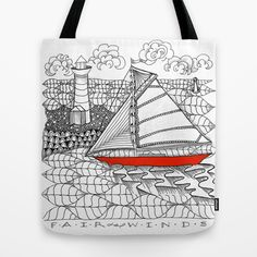 Sailors Dream Fair Winds Sailboat Zentangle Tote Bag by Vermont Greetings - $22.00