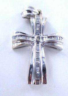 14KT WHITE GOLD PENDANT CROSS  FINE JEWELRY 49 DIAMOND 1.5  CARAT 7.9 GRAMS