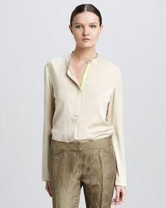 Hailey Long-Sleeve Blouse by Elie Tahari at Neiman Marcus.