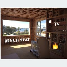 Bench seat, fireplace design for the upstairs living room in the lover dreamer beach house