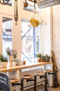 Could do big windows in front of container with seating - The Butcher& Daughter: A Juice Getaway Cafe Shop, Cafe Bar, Commercial Design, Commercial Interiors, Restaurant Design, Restaurant Bar, Window Bars, My Coffee Shop, Bar Seating