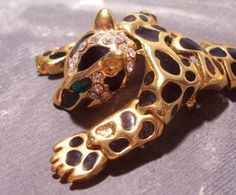 VINTAGE Leopard Shoulder Pin Brooch HUGE Gold Black by punksrus, $28.50