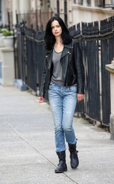Krysten Ritter is seen on the film set of 'Jessica Jones.'