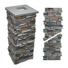 """Faux Stone Column Wrap 36"""" - Grey"""