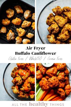 Crispy air fryer buffalo cauliflower is the perfect appetizer or snack! These gluten free bites are easy to make, packed with flavor,  and perfect for dipping. Don't have an air fryer? Don't worry. You can also whip these up in the oven! Easy Whole 30 Recipes, Healthy Gluten Free Recipes, Whole30 Recipes, Lunch Recipes, Vegetarian Recipes, Healthy Grains, Healthy Eats, Buffalo Cauliflower, Easy Appetizer Recipes