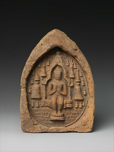 Votive Plaque: Seated Buddha in a Temple, ca. 9th–10th century