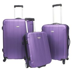 3 Piece Purple Spinner Rolling Luggage Set 28,24,20 Upright Hardside #TravelersChoice