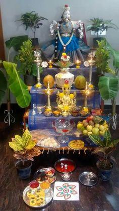 Lakshmi Diwali Decorations, Festival Decorations, Flower Decorations, Wedding Decorations, Mandir Design, Pooja Room Design, Silver Pooja Items, Spiritual Decor, Diwali Rangoli