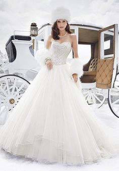 Strapless misty tulle ball gown with an intricately hand-beaded bodice with a sweetheart neckline and gently curved Basque waistline | Sophia Tolli | https://moncheribridals.com/