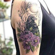 Grey Ink Tattoos, Leg Tattoos, Flower Tattoos, Body Art Tattoos, Sleeve Tattoos, Black Crow Tattoos, Crow Tattoo Design, Tattoo Designs, Elephant Tattoos