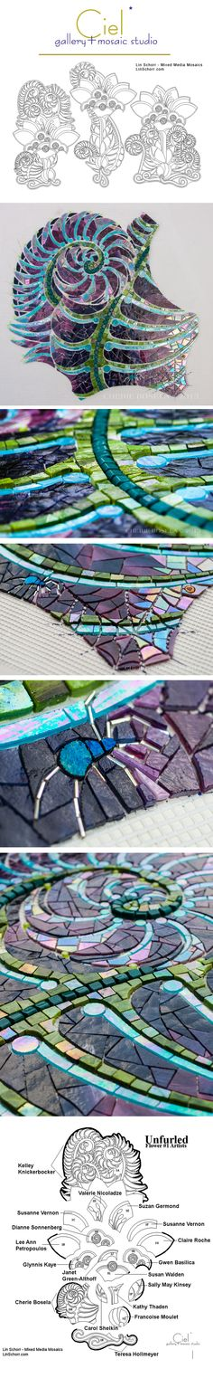'Unfurled', a collaborative mosaic project between Ciel Gallery, Lin Schorr Mixed Media Mosaics, and 55 mosaic artists. UNFURLED will be located on the exterior wall of Ciel Gallery, Charlotte, North Carolina.