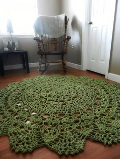 Sage Green Cotton Doily Crocheted Lace Rug Area Rug by EvaVillain