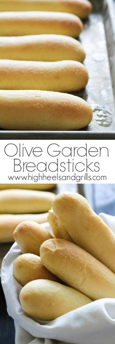 Olive Garden Breadsticks Copycat. These are light and fluffy, but crisp on the outside and have a slight hint of garlic to them. Awesome side for dinner! http://www.highheelsandgrills.com/2015/03/olive-garden-breadsticks.html