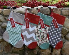 Pick Any 4 Plush Stockings. Set of Four by YardsAndYards on Etsy Aqua Christmas, Merry Christmas To All, Christmas Colors, Winter Christmas, Christmas Holidays, Christmas Stuff, Santa Crafts, Christmas Crafts For Gifts, Christmas Projects