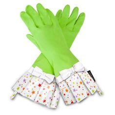 Gloveables Lime Fashion Gloves with Multi-Color Stars and Bow by The Storage Store. $14.79. Decorative oilcloth fringe. Pattern: Lime Fashion Gloves with Multi-color Stars and BowOne size fits most. Natural latex rubber. Protects hands from heat, chemicals and dirt. Gloveables waterproof gloves are unlike any ordinary kitchen glove youve ever tired. The perfect way to protect your hands while still being fashionable and comfortable  Gloveables brand latex gloves are ideal for ...