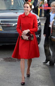 Kate in red Carolina Herrera coat for day five of the royal visit in Yukon · Kate Middleton Style Blog