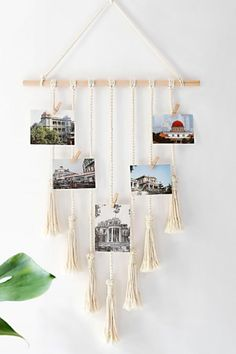 Mkono Hanging Photo Display Macrame Wall Hanging Pictures Organizer Home Decor With 25 Wood Clips - New stock macrame walldecorbedroom walldecorbedroomideas walldecorlivingroom Photo Wall Hanging, Hanging Rope, Hanging Pictures, Display Pictures, Foto Banner, Polaroid Foto, Home Design, 3d Foto, Wall Decor