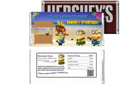 Despicable Me 2 Birthday Candy Bar Wrappers $3.99 available at www.partyexpressinvitations.com
