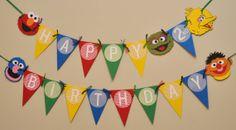 Sesame Street Birthday Party Pendant Banner on Etsy, $35.00 Birthday Decorations For Men, Diy Birthday Banner, Elmo Birthday, Diy Banner, Pennant Banners, Birthday Numbers, 4th Birthday Parties, Bunting, Birthday Ideas