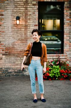 Toronto Street Fashion blog featured the Cotton Spandex Sleeveless Turtleneck Crop Top and the Easy Jean by #AmericanApparel.