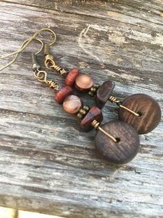 Boho Earrings Dangle Earrings Wood Earrings by BeachBohoJewelry
