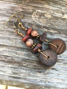 Boho Earrings Dangle Earrings Wood Earrings by BeachBohoJewelry