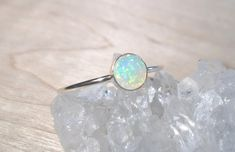 Opal+Ring+Sterling+Silver+opal+stacking+by+AWildViolet+on+Etsy,+$38.00