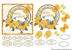 With Love Yellow Flowers and Butterflies on Craftsuprint designed by Sheila Rodgers - This layered topper will fit onto a 6x6 inch card leaving a border.The background is spotted, the edges are inked, there are several layers of decoupage, a choice of 8 different sentiments and 2 blank sentiment tags for your own text.There is a matching insert available too. - Now available for download!