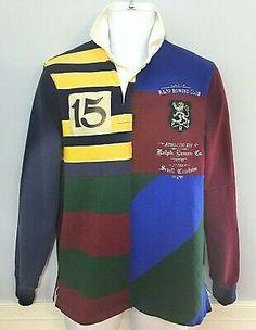 Ralph LaurenGreen College Skull Men/'s Rugby Henley Hooded Shirt Stripe