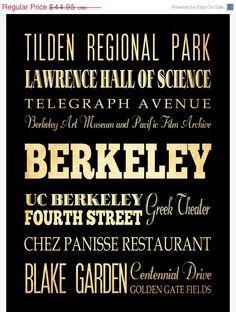 ON SALE Berkeley California Typography Art by LegacyHouseArt, $39.95