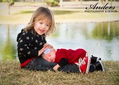 Newborn with sibling Outdoor photography