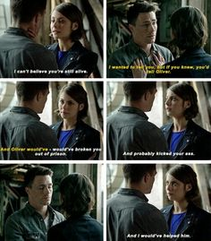 "can't believe you're still alive"" - Roy and Thea Arrow Cw, Arrow Oliver, Team Arrow, Superhero Shows, Superhero Memes, Supergirl Dc, Supergirl And Flash, The Flash, Roy And Thea"