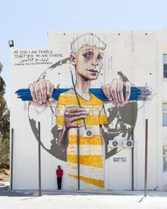 2015 Akut from Herakut creates a large new mural in Amman, Jordan