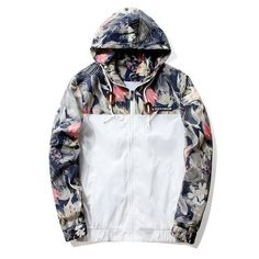 d6ecdbab4b471 Floral Jacket 2018 Autumn Mens Hooded Jackets Slim Fit Long Sleeve Homme  Trendy Windbreaker Coat Brand Clothing Drop Shipping