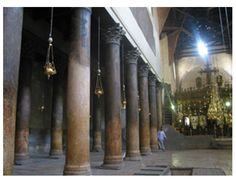 """Byzantine-This is a picture taken at the """"Church of Nativity"""".  It is the oldest church in the Holly land that is still used today.  Here you can see the Colonnade and The Aisle.  Is the capital at the top of the columns a Roman Corinthian style?  (artandcointv.com/artstyleEarlyByanti.php)"""