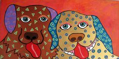"""Whimsical Unique Original Mixed Media Painting """"PALS"""". OOAK Outsider Art, Folk Art. Child-like depiction of two loving doggy companions."""