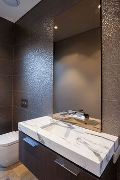 Powder room cabinetry design, tile & sanitary fixture selections by Urbane Projects, Perth Houzz, Perth, Powder Room, Building Design, Luxury Homes, Living Spaces, Bathrooms, Tiles, Bathroom Designs