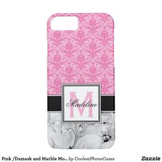 Pink /Damask and Marble Monongram iPhone Case - initial gift idea style unique special diy Pink Damask, Black And White Marble, Mobile Cases, Iphone 8 Cases, Initials, Monogram, Girly, Stylish, Unique