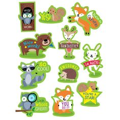 Students will love the cute critters on these Woodland Rewards stickers. Furry woodland friends (hedgehog, bear, fox, rabbit, owl, squirrel and raccoon) and motivational sayings will reward and encour