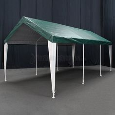 "King Canopy 10' x 20' Green and White Hercules Canopy - Set in a 2"" 20 gauge steel powder-coated frame, the Hercules Canopy features a standard 8 leg design with interchangeable corner brackets. The patented 180 gsm Fitted Cover with Leg Skirts features high UV protection and meets California fire codes as well as commercial fire codes. The Hercules Canopy measures 10' 8"" wide x 20' long."