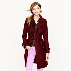 J.crew Icon Trench in Woolcashmere in Red (cabernet) | Lyst