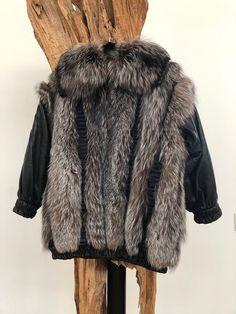2ff9c89ed3a Vintage CHRISTIAN DIOR Black Leather Fox FUR Coat Jacket Luxury Details!  Origami pleats - Wow!!!