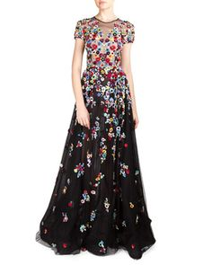 Floral Applique Tulle Gown by Zuhair Murad at Bergdorf Goodman.