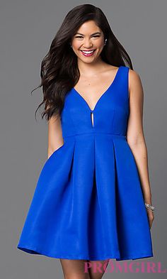 Fit and Flare Royal Blue Homecoming Dress at PromGirl.com