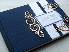 Navy Wedding Guest Book with Swirl Embellishments (made to order) Navy Blue And Gold Wedding, Navy Gold, Black Gold, Wedding Album, Wedding Guest Book, Wedding Stationary, Wedding Invitations, Wedding Scrapbook, Nautical Wedding