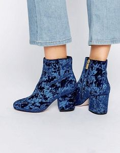 ASOS RACHELLE Velvet Heeled Ankle Boots $62.00