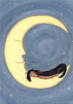 Black longhaired dachshund (doxie) sleeping on the moon / Lynch folk art print