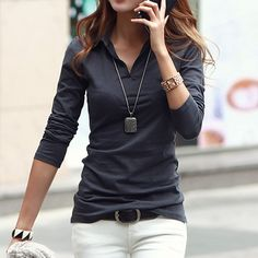Casual Polo Collar Long Sleeves Solid Color T-Shirt For Women
