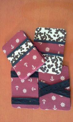 Girassol handmade art: Carteiras Mágicas/ Cartonagens com tecidos termocolantes e costuradas à mão #